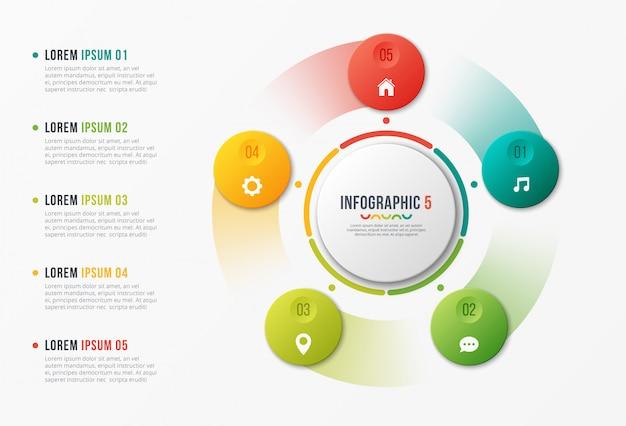 Plantilla de gráfico de círculo giratorio, diseño infográfico