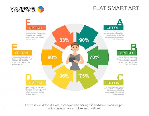 Plantilla de gráfico de éxito comercial de seis opciones para la presentación.