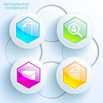 Plantilla de gráfico infográfico con cuatro botones hexagonales brillantes de colores, círculos de luz e iconos de negocios