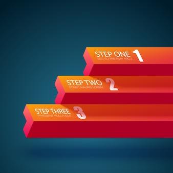 Plantilla de gráfico de negocios con tres pasos