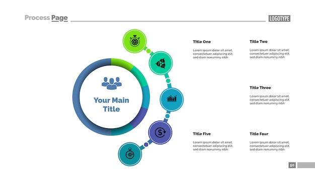 Plantilla de gráfico de proceso de enfoque comercial de cinco opciones. visualización de datos comerciales