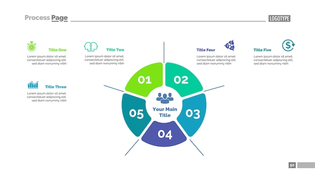 Plantilla de gráfico de proceso de estrategia de cinco opciones. datos comerciales