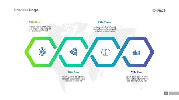 Plantilla de gráfico de proceso de flujo de trabajo de cuatro pasos para la presentación.