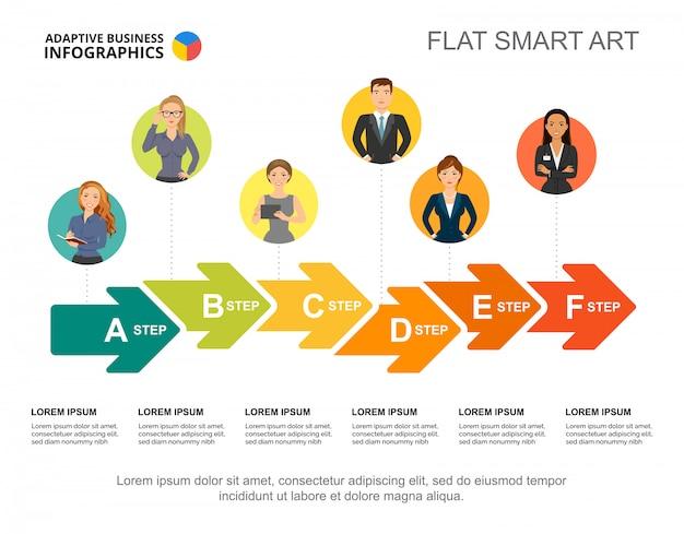 Plantilla de gráfico de proceso de flujo de trabajo empresarial para la presentación