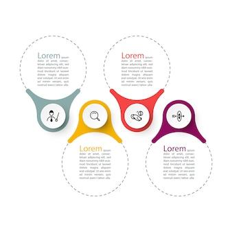 Plantilla de gráficos de barra de infografías de anillo