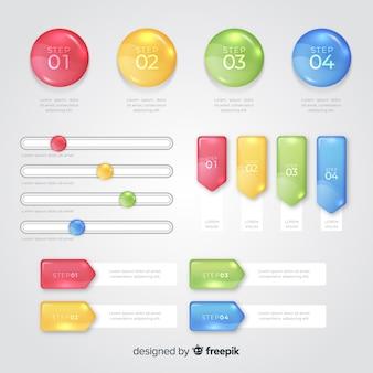 Plantilla de gráficos infográficos múltiples