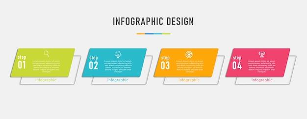 Plantilla de gráficos de información empresarial con flujo de trabajo de número de opción cuatro pasos