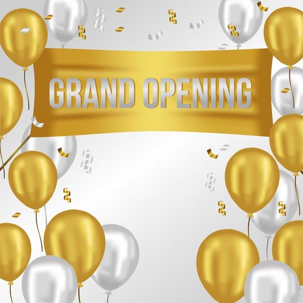 Plantilla de gran apertura con globos de oro y plata