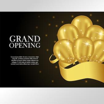 Plantilla de gran apertura con globos de oro