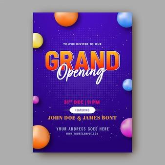 Plantilla de gran inauguración o diseño de volante con bolas de colores 3d y detalles del evento