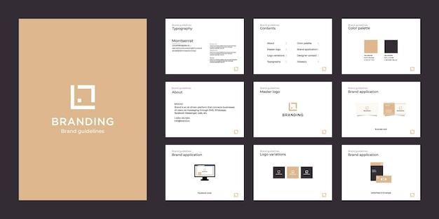 Plantilla de guía de marca de lujo minimalista