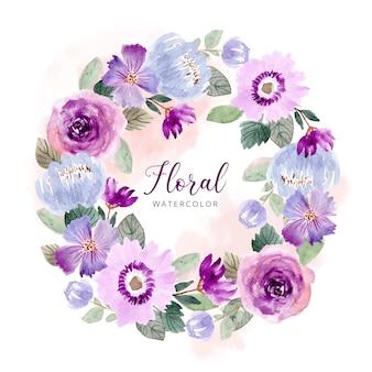 Plantilla de guirnalda de acuarela de flor verde púrpura