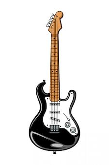 Plantilla de guitarra eléctrica colorida vintage