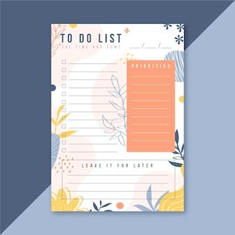 Plantilla para hacer la lista