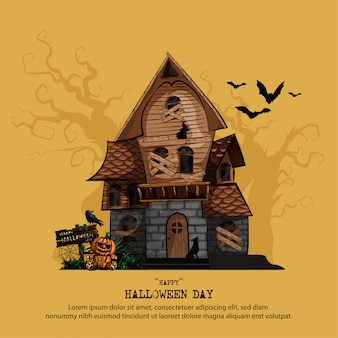 Plantilla de halloween con casa embrujada