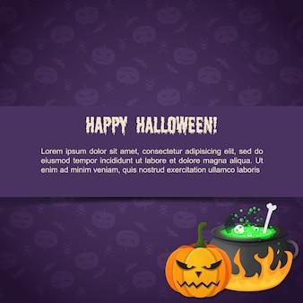 Plantilla de halloween festivo abstracto con texto malvado poción de calabaza hirviendo en caldero