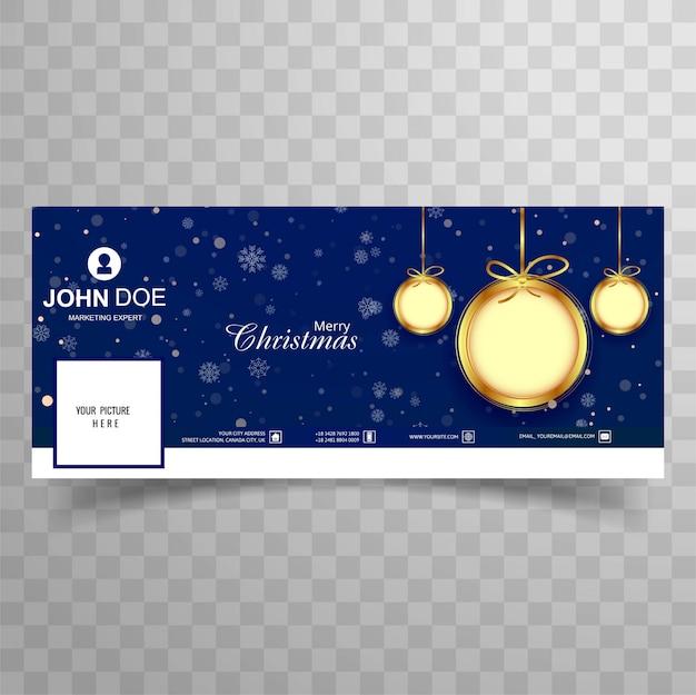 Plantilla hermosa de la cubierta de facebook de la bola de la feliz navidad