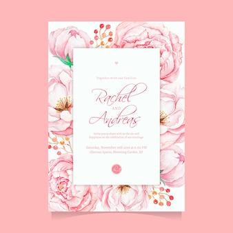 Plantilla hermosa de la invitación de la boda de la flor rosa de la acuarela