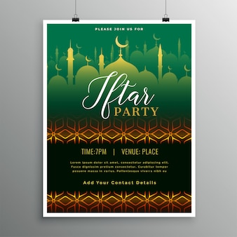 Plantilla hermosa de la invitación del partido de iftar