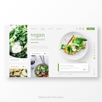 Plantilla hermosa de la página de aterrizaje del restaurante vegano