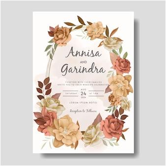 Plantilla hermosa de la tarjeta de la invitación de la boda del marco floral del otoño