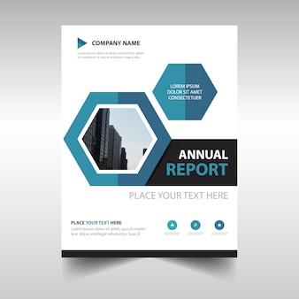 Plantilla hexagonal profesional de reporte anual