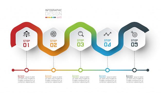 Plantilla de hexágono con infografías de líneas de color.