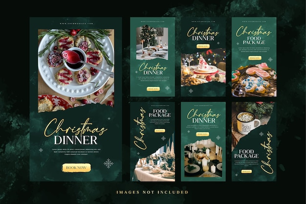 Plantilla de historia de instagram de cena de comida navideña para publicidad en redes sociales