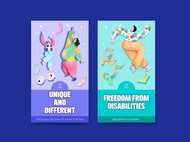 Plantilla de historia de instagram con el concepto del día mundial del síndrome de down, estilo acuarela