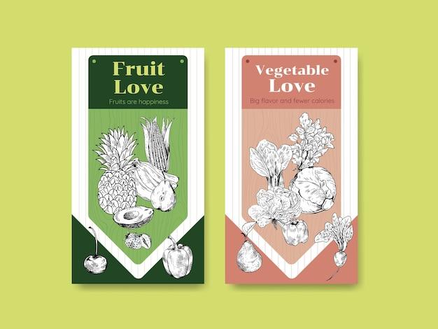 Plantilla de historia de instagram con diseño de concepto de comida vegana