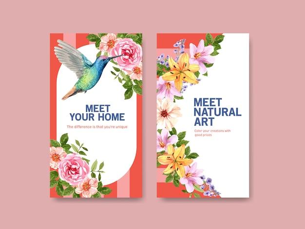 Plantilla de historia de instagram con diseño de concepto de flor de verano
