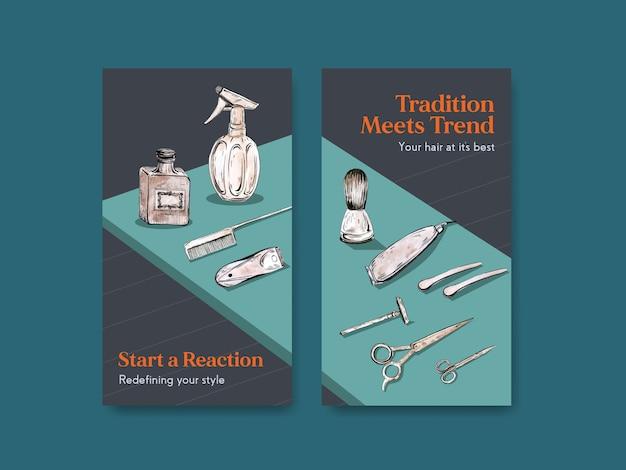 Plantilla de historia de instagram con diseño de concepto de peluquero