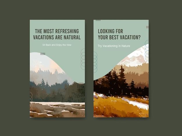 Plantilla de historia de instagram con paisaje en diseño de otoño
