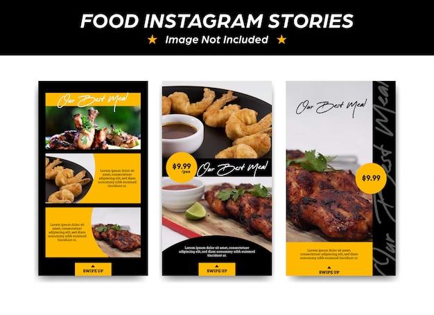 Plantilla de la historia de instagram para la promoción de restaurantes de comida y restaurantes.