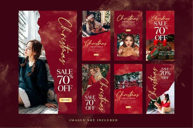 Plantilla de historia de instagram de venta de moda navideña para publicidad en redes sociales