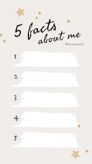 Plantilla de historia de redes sociales de 5 hechos sobre mí