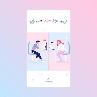 Plantilla de historia de redes sociales del día de san valentín con amantes lindos que celebran las vacaciones en línea. concepto de relación de larga distancia.
