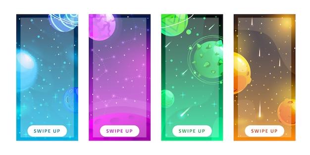 Plantilla de historias conjunto de fondo del espacio con planetas de fantasía de dibujos animados. telón de fondo móvil