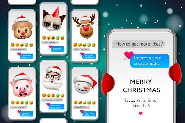 Plantilla de historias de feliz navidad con caras sonrientes de emojis de navidad