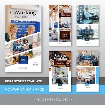 Plantilla de historias insta para trabajo cooperativo y renta de espacio