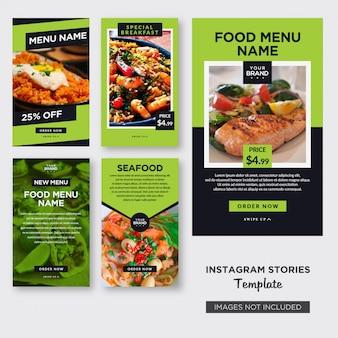 Plantilla de historias de instagram de alimentos