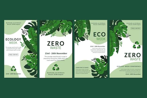 Plantilla de historias de instagram de anuncios de cero residuos