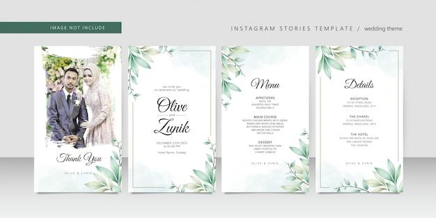 Plantilla de historias de instagram de boda con hojas de acuarela