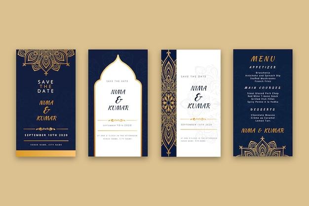 Plantilla de historias de instagram de boda india