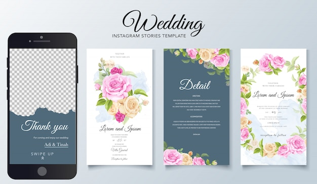 Plantilla de historias de instagram para bodas