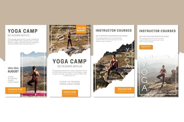 Plantilla de historias de instagram de campamento de yoga