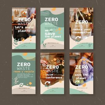 Plantilla de historias de instagram de cero residuos