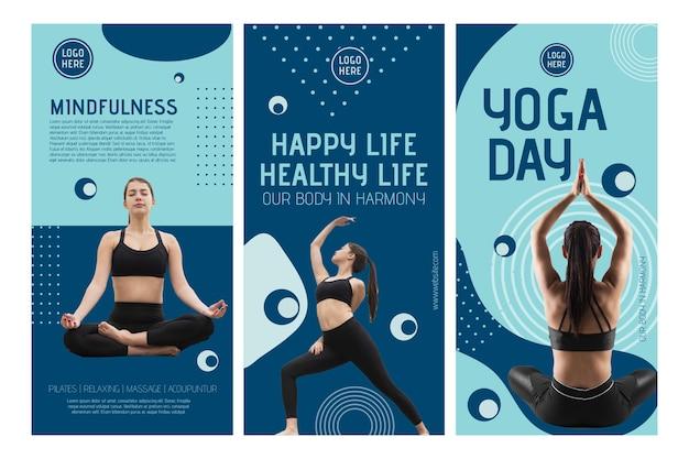Plantilla de historias de instagram de clase de yoga con foto