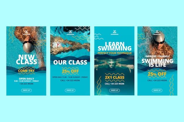 Plantilla de historias de instagram de clases de natación