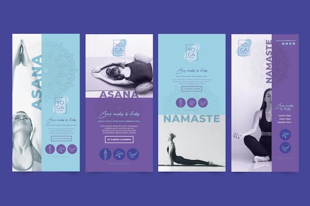 Plantilla de historias de instagram de clases de yoga